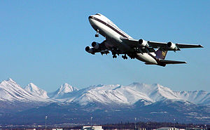 Plane taking off at Ted Stevens Anchorage Inte...