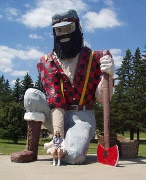 Paul Bunyan and his cradle.