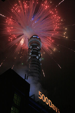 English: BT Tower (London) seen during a firew...