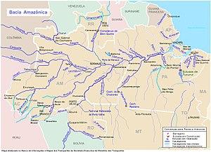 Mapa da bacia hidrográfica do Amazonas no Brasil