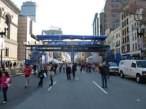 2011 Boston Marathon finishing line pavillion ...