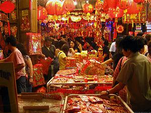A scene in a street market in Chinatown, Singa...