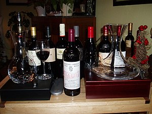 Collection of Spanish wines and decanters incl...