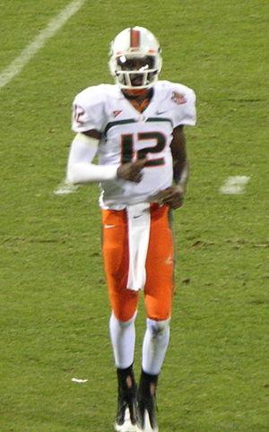 Miami quarterback Jacory Harris comes off the ...