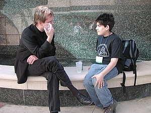 Photo of Aaron Swartz and Lawrence Lessig at t...