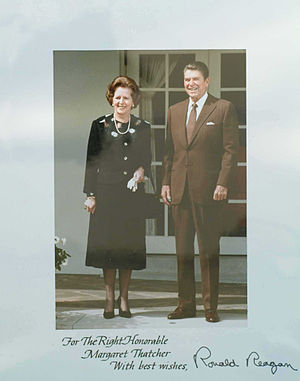 Ronald Reagan and Margaret Thatcher.