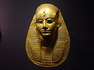 A Grave mask of pharaoh Amenemope of the 21 st...