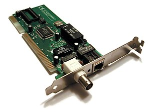 A 1990s network interface card supporting both...