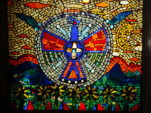 "English: 28 x 32"" stained glass mosaic wi..."