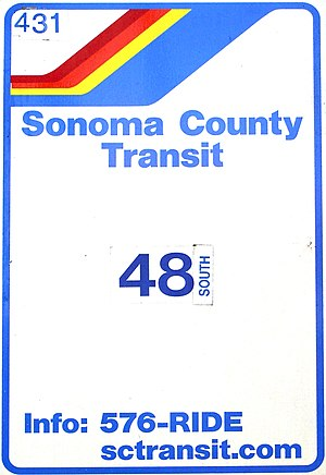 English: Sonoma County Transit sign. Taken on ...