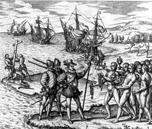Deutsch: Kolumbus Ankunft in der neuen Welt, K...