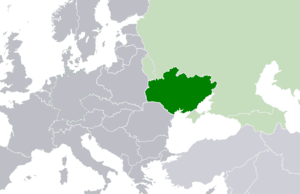 Location map of the Ukrainian SSR and its boun...