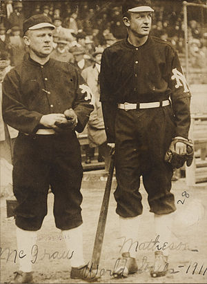 Giants manager John McGraw and pitcher Christy...