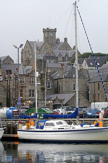 English: Lerwick harbour Taken from the lifebo...