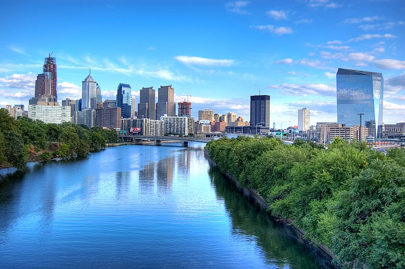 Schuylkill River looking south to Philadelphia, photo by Ed Yakovich