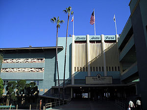 Art deco entrance to Santa Anita's grandstands.