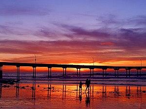 English: Ocean Beach Pier at sunset.