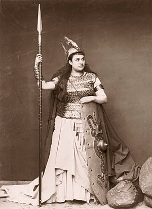 English: Soprano Amalie Materna as Brünnhilde ...