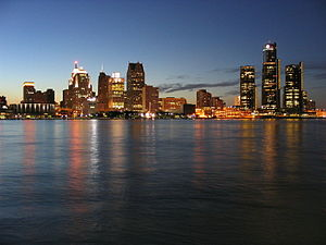 Detroit skyline as seen from Windsor, Ontario