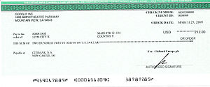 Cheque from Google AdSense