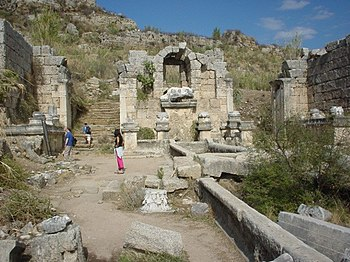 English: Ruins of the main street in Perga, ca...