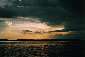 Sunset on the Rio Negro, Brazil