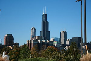 The Sears Tower as seen from the Shedd Aquarium.