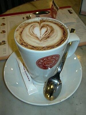 English: Cappuccino at Vecchio Café. Italiano:...