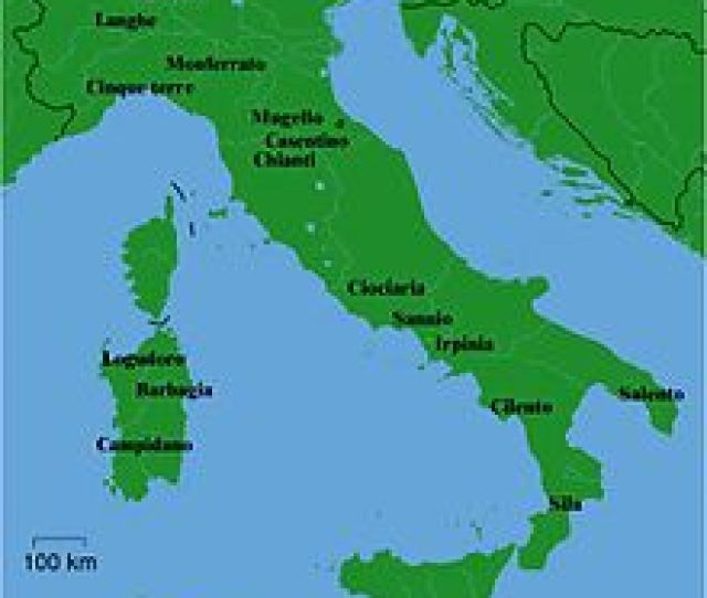 Map Of Italy Showing The Names Of A Dozen Common Places