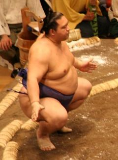 Sumo Wrestler Kaiō Hiroyuki on the first day t...