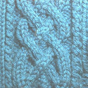 A cable-knit piece of fabric