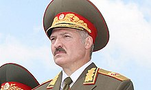 Alexander Lukashenko wearing the uniform of the Commander-in-Chief of the Belarusian Armed Forces in 2001.