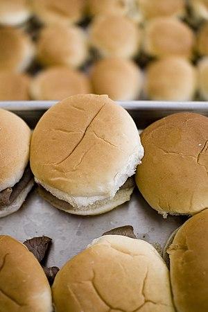 Mass-produced hamburgers.