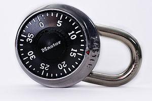 A Master Lock brand padlock.