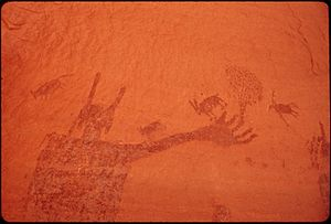 ONE OF THE PICTOGRAPHS IN THE MAZE, WESTERN PA...
