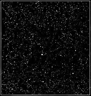The night sky seen through a telescope