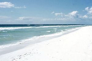 English: Pensacola Beach, 1957. Beach shows ex...