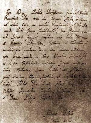 manuscript by Saint Andrzej Bobola, Polish Jes...