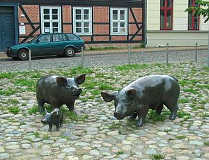 sculpture on the pig market in Schwerin, Germany