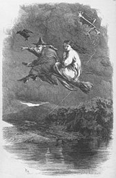 Two women flying on a broomstick above a large body of water against a dark sky, led by a large black bird. The older woman in front is dressed in a pointed hat and long black cloak, while the younger woman behind is dressed in white.