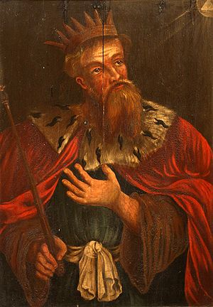 King Hezekiah on a 17th century painting by un...