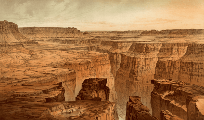 Berkas:Grand Canyon at the foot of the Toroweap - looking east, William Henry Holmes.png