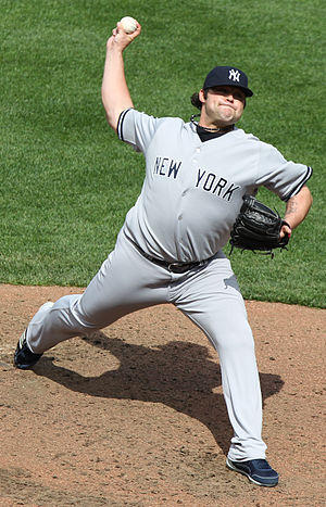 Joba Chamberlain pitching during a game betwee...