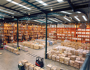 English: modern warehouse with pallet rack sto...