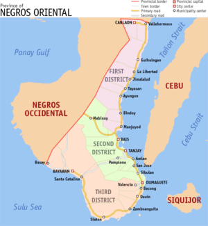 English: Map of Negros Oriental