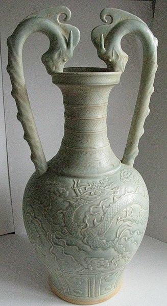 File:Song or Yuan Celadon Ware- Two Dragon Handle Amphora.JPG