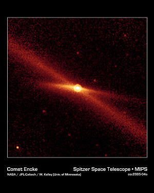 A Spitzer image of Encke and its debris trail ...