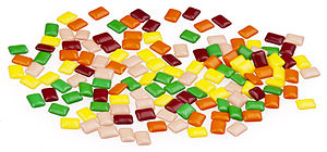 Chiclets candies, made by Cadbury Adams.