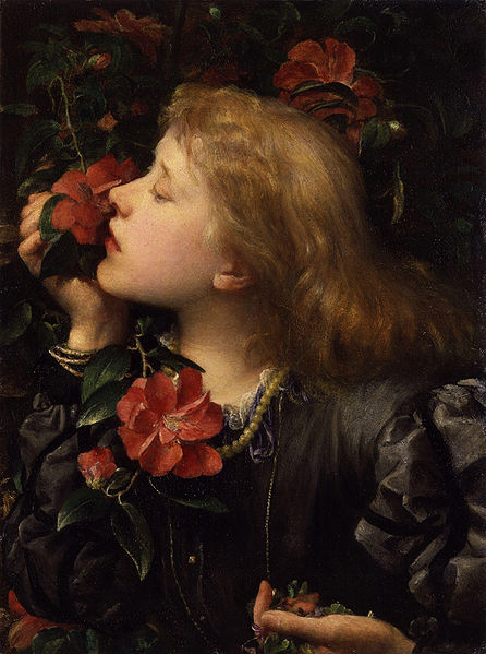 Ellen Terry, painted in Choosing by Godwin. 1864. He married her WHILE SHE LOOKED LIKE THIS, people. Pervert.
