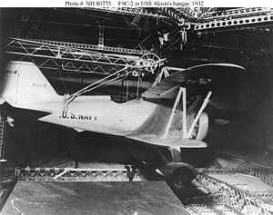 A Curtiss F9C-2 Sparrowhawk inside USS Akron (...